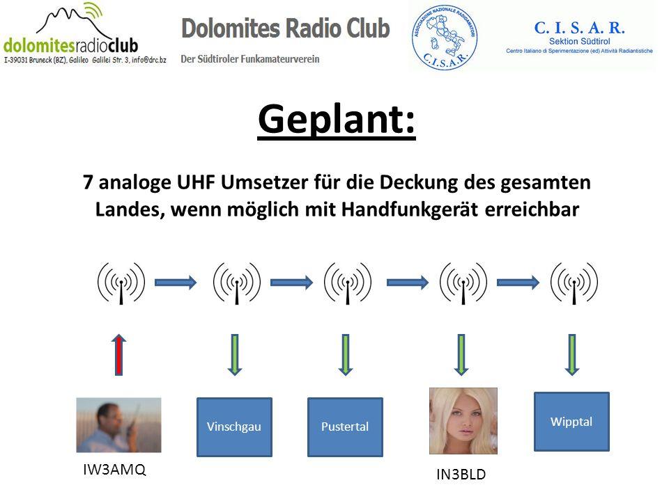 Geplant: 7 analoge UHF Umsetzer für die Deckung des gesamten Landes, wenn möglich mit Handfunkgerät erreichbar IW3AMQ IN3BLD Vinschgau Wipptal Pustert