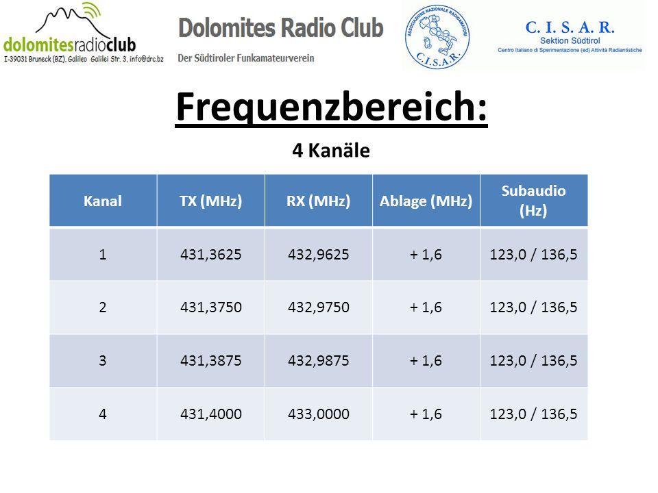 Frequenzbereich: 4 Kanäle KanalTX (MHz)RX (MHz)Ablage (MHz) Subaudio (Hz) 1431,3625432,9625+ 1,6123,0 / 136,5 2431,3750432,9750+ 1,6123,0 / 136,5 3431