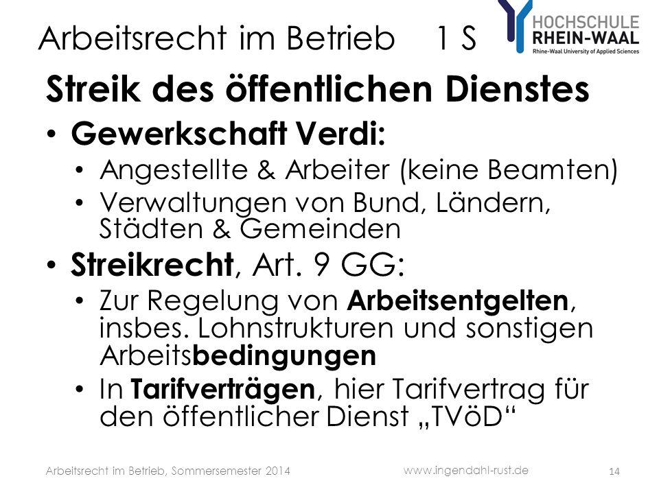 Arbeitsrecht im Betrieb 1 S Streik des öffentlichen Dienstes Gewerkschaft Verdi: Angestellte & Arbeiter (keine Beamten) Verwaltungen von Bund, Ländern