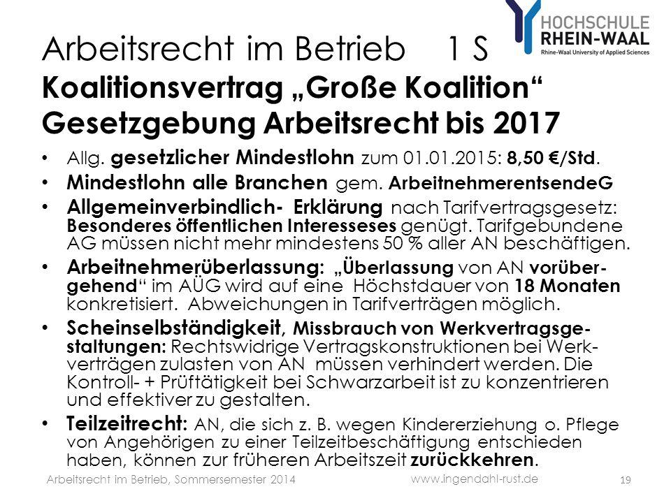 Arbeitsrecht im Betrieb 1 S Koalitionsvertrag Große Koalition Gesetzgebung Arbeitsrecht bis 2017 Allg. gesetzlicher Mindestlohn zum 01.01.2015: 8,50 /