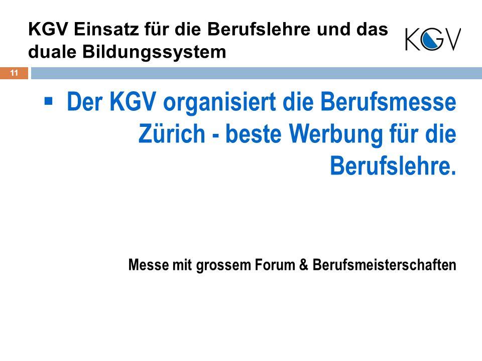 Der KGV organisiert die Berufsmesse Zürich - beste Werbung für die Berufslehre.