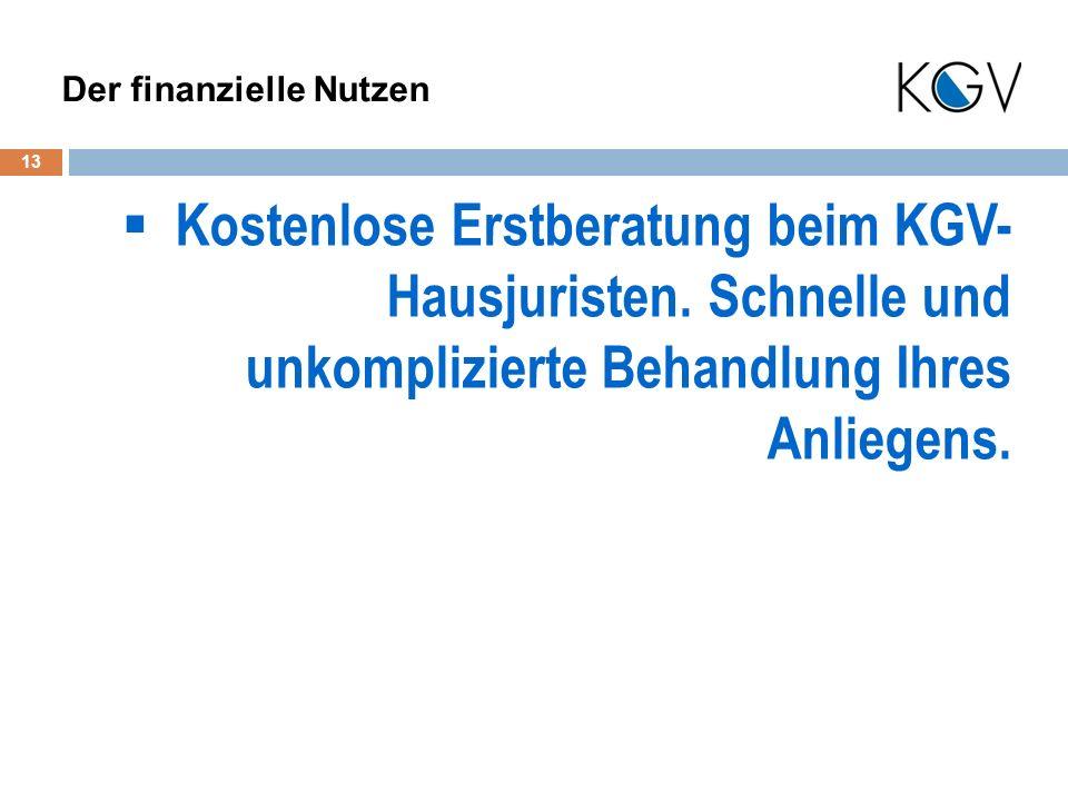 Kostenlose Erstberatung beim KGV- Hausjuristen.