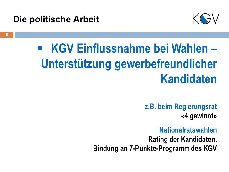 KGV Einflussnahme bei Wahlen – Unterstützung gewerbefreundlicher Kandidaten 5 Die politische Arbeit z.B.