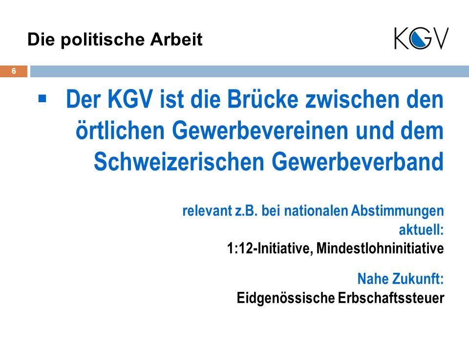 Der KGV ist die Brücke zwischen den örtlichen Gewerbevereinen und dem Schweizerischen Gewerbeverband 6 Die politische Arbeit relevant z.B.