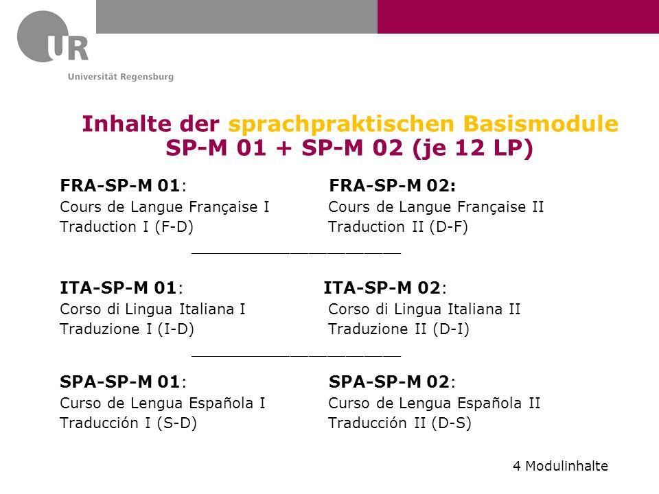 Inhalte der sprachpraktischen Basismodule SP-M 01 + SP-M 02 (je 12 LP) FRA-SP-M 01: FRA-SP-M 02: Cours de Langue Française I Cours de Langue Française