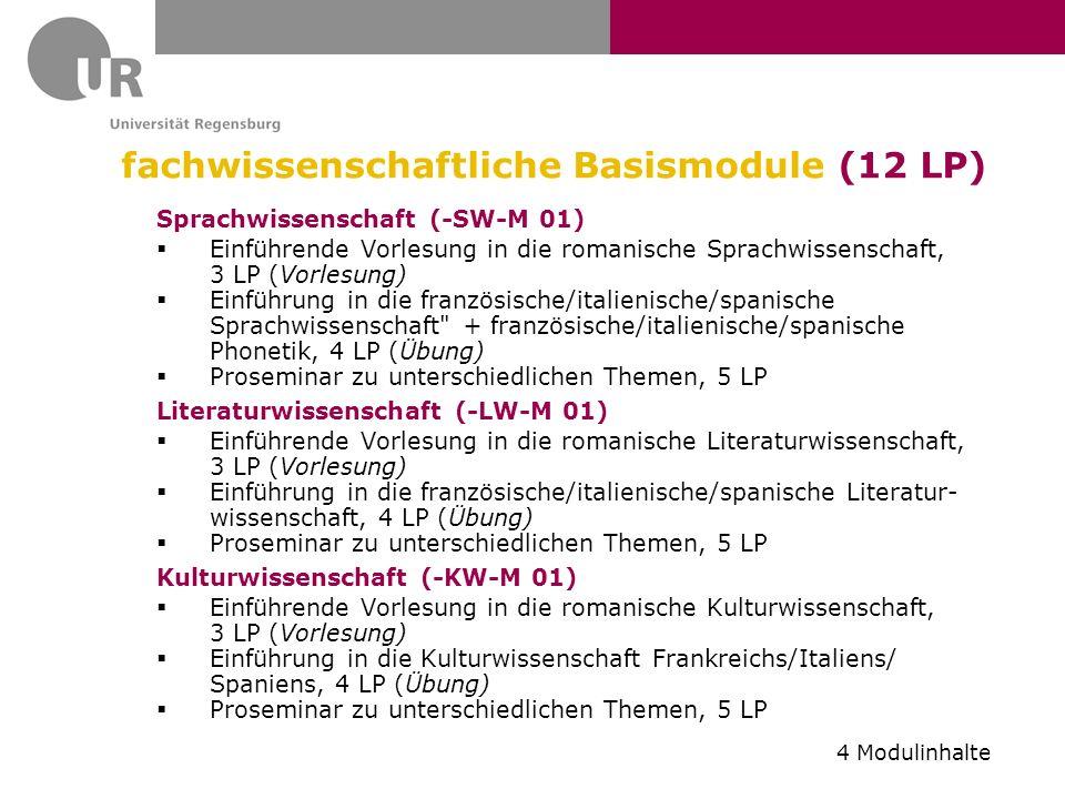 fachwissenschaftliche Basismodule (12 LP) Sprachwissenschaft (-SW-M 01) Einführende Vorlesung in die romanische Sprachwissenschaft, 3 LP (Vorlesung) E