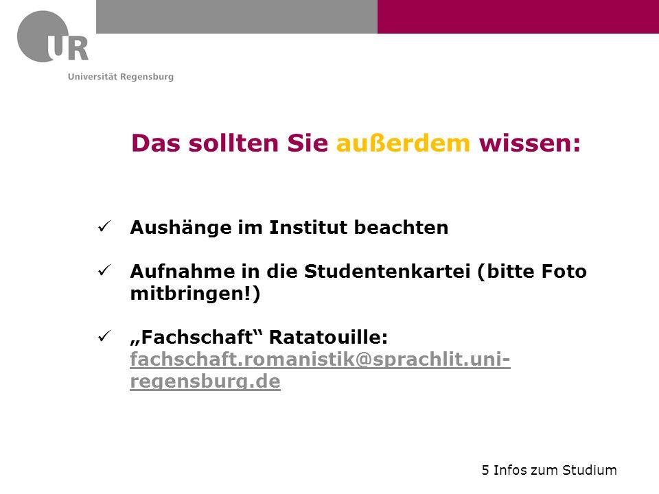 Das sollten Sie außerdem wissen: Aushänge im Institut beachten Aufnahme in die Studentenkartei (bitte Foto mitbringen!) Fachschaft Ratatouille: fachsc