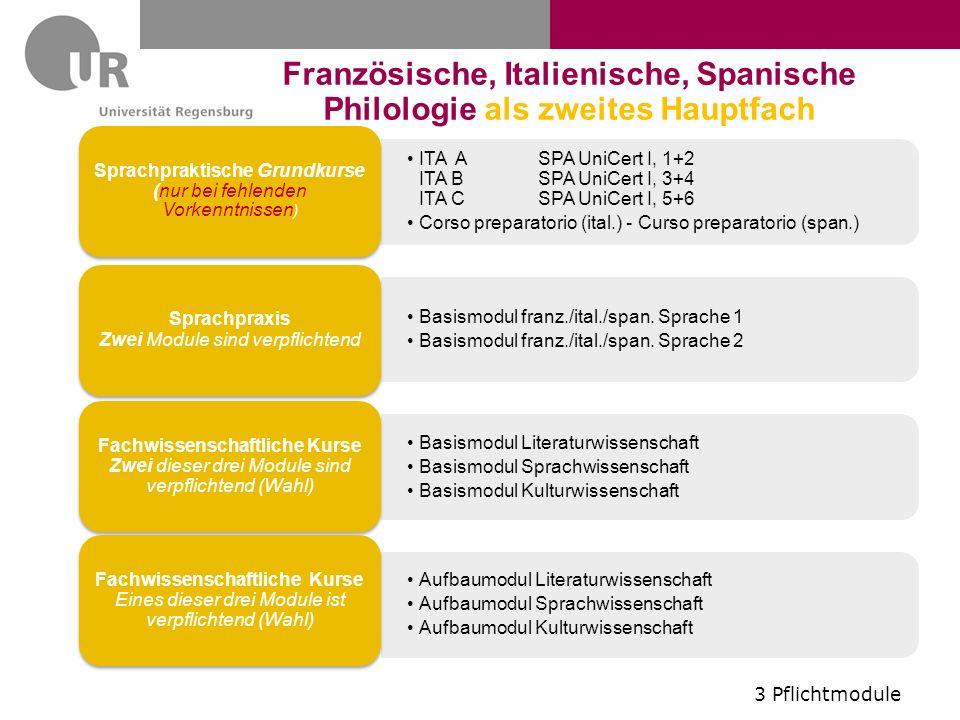 ITA ASPA UniCert I, 1+2 ITA BSPA UniCert I, 3+4 ITA CSPA UniCert I, 5+6 Corso preparatorio (ital.) - Curso preparatorio (span.) Sprachpraktische Grundkurse (nur bei fehlenden Vorkenntnissen) Basismodul franz./ital./span.