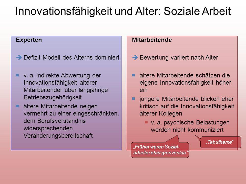 Innovationsfähigkeit und Alter: Soziale Arbeit Experten Defizit-Modell des Alterns dominiert v.