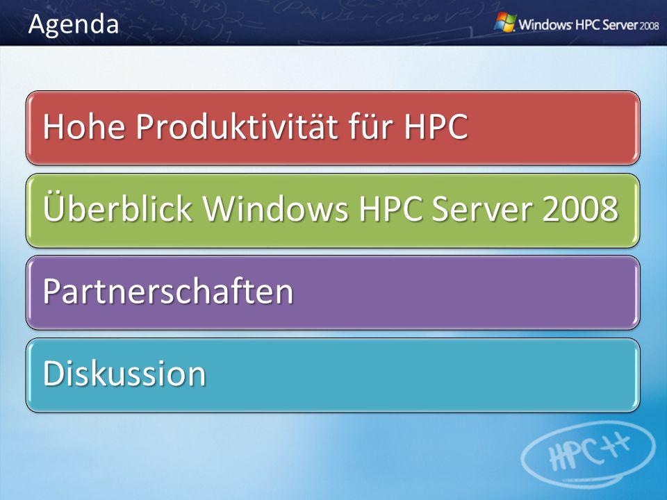 Agenda Hohe Produktivität für HPC Überblick Windows HPC Server 2008 Partnerschaften Diskussion