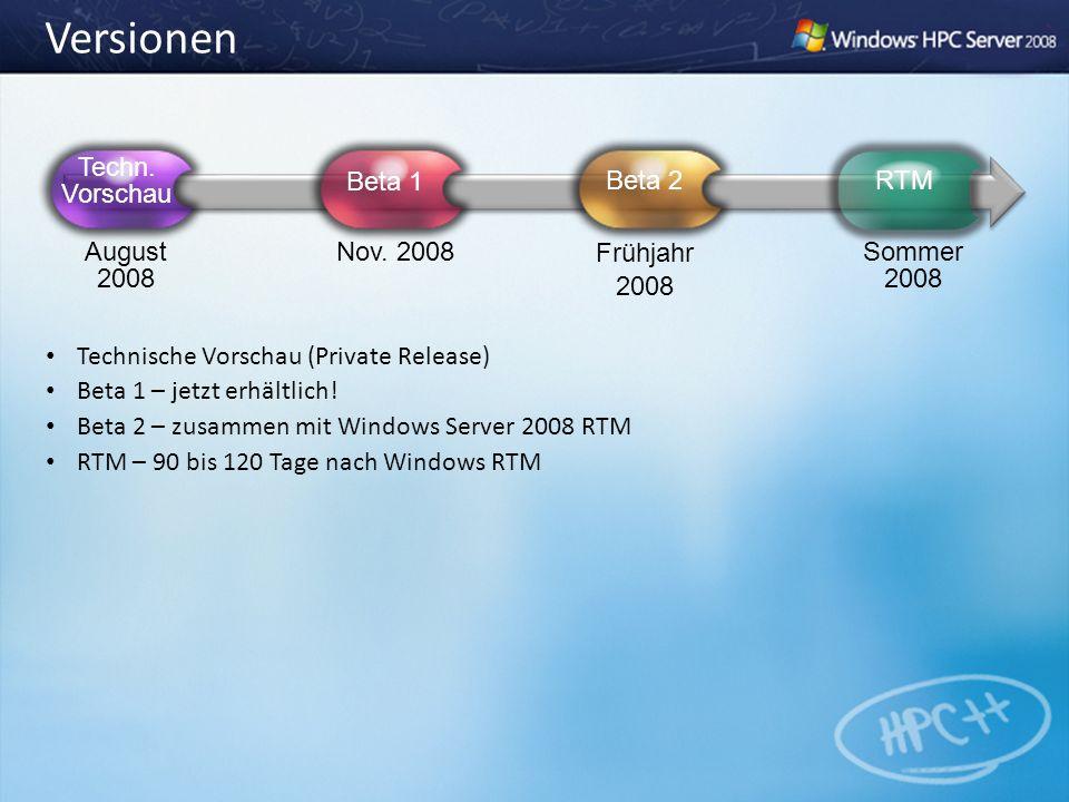 Versionen Technische Vorschau (Private Release) Beta 1 – jetzt erhältlich! Beta 2 – zusammen mit Windows Server 2008 RTM RTM – 90 bis 120 Tage nach Wi