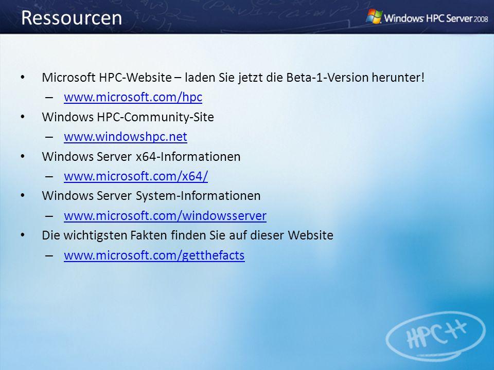 Ressourcen Microsoft HPC-Website – laden Sie jetzt die Beta-1-Version herunter! – www.microsoft.com/hpc www.microsoft.com/hpc Windows HPC-Community-Si