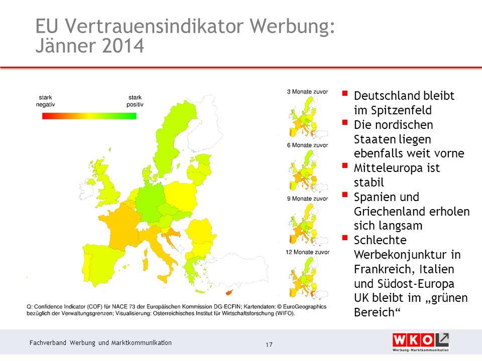 Fachverband Werbung und Marktkommunikation EU Vertrauensindikator Werbung: Jänner 2014 17 Deutschland bleibt im Spitzenfeld Die nordischen Staaten liegen ebenfalls weit vorne Mitteleuropa ist stabil Spanien und Griechenland erholen sich langsam Schlechte Werbekonjunktur in Frankreich, Italien und Südost-Europa UK bleibt im grünen Bereich