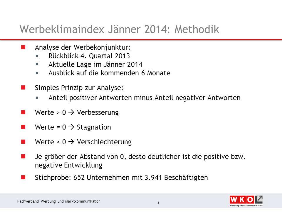 Fachverband Werbung und Marktkommunikation Werbeklimaindex: Zusammenfassung Erhebung Jänner 2014 Für die Branche war 2013 ein schwieriges Jahr.