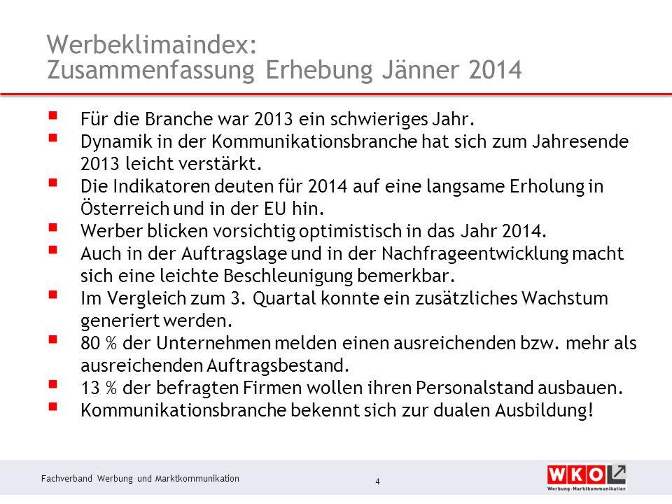 Fachverband Werbung und Marktkommunikation Steuerpflichtiger Umsatz: Q 1 bis Q 3 2013 vs.