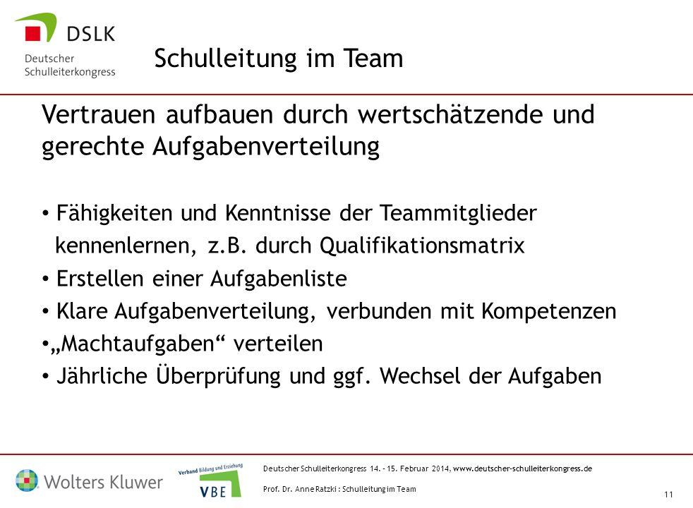 Deutscher Schulleiterkongress 14. – 15. Februar 2014, www.deutscher-schulleiterkongress.de 11 Vertrauen aufbauen durch wertschätzende und gerechte Auf