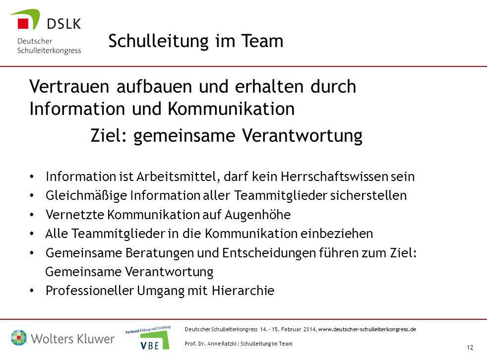 Deutscher Schulleiterkongress 14. – 15. Februar 2014, www.deutscher-schulleiterkongress.de 12 Vertrauen aufbauen und erhalten durch Information und Ko