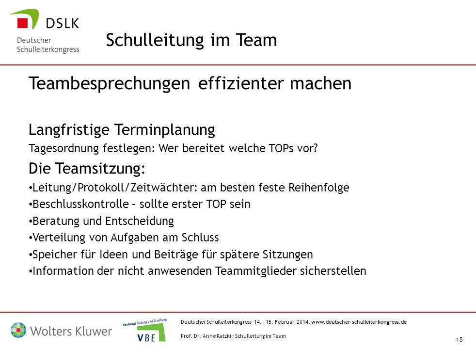 Deutscher Schulleiterkongress 14. – 15. Februar 2014, www.deutscher-schulleiterkongress.de 15 Teambesprechungen effizienter machen Langfristige Termin