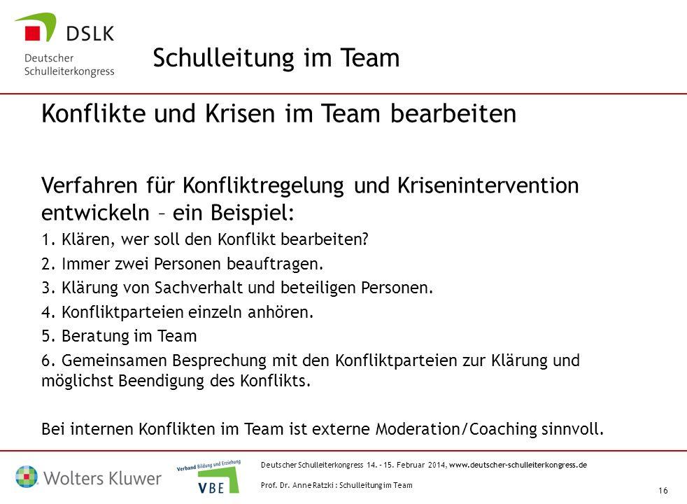 Deutscher Schulleiterkongress 14. – 15. Februar 2014, www.deutscher-schulleiterkongress.de 16 Konflikte und Krisen im Team bearbeiten Verfahren für Ko