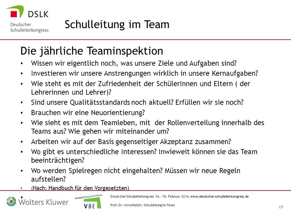 Deutscher Schulleiterkongress 14. – 15. Februar 2014, www.deutscher-schulleiterkongress.de 17 Die jährliche Teaminspektion Wissen wir eigentlich noch,