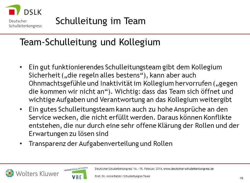 Deutscher Schulleiterkongress 14. – 15. Februar 2014, www.deutscher-schulleiterkongress.de 18 Team-Schulleitung und Kollegium Ein gut funktionierendes