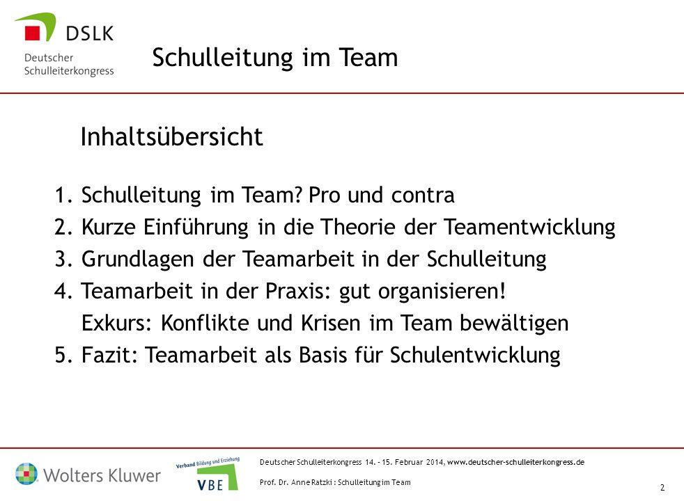 Deutscher Schulleiterkongress 14. – 15. Februar 2014, www.deutscher-schulleiterkongress.de 2 Inhaltsübersicht 1. Schulleitung im Team? Pro und contra