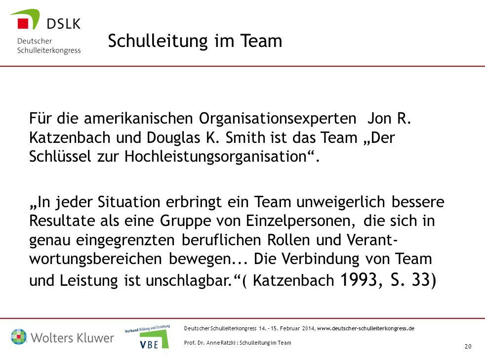 Deutscher Schulleiterkongress 14. – 15. Februar 2014, www.deutscher-schulleiterkongress.de 20 Für die amerikanischen Organisationsexperten Jon R. Katz