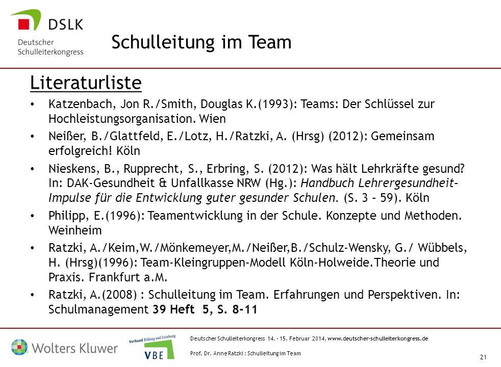 Deutscher Schulleiterkongress 14. – 15. Februar 2014, www.deutscher-schulleiterkongress.de 21 Literaturliste Katzenbach, Jon R./Smith, Douglas K.(1993