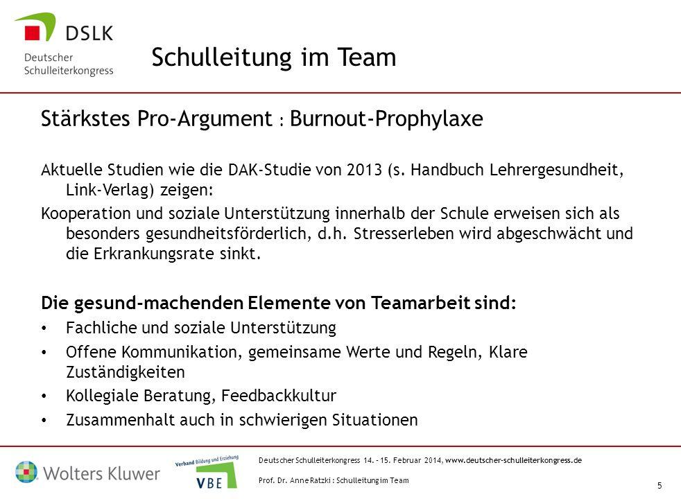 Deutscher Schulleiterkongress 14. – 15. Februar 2014, www.deutscher-schulleiterkongress.de 5 Stärkstes Pro-Argument : Burnout-Prophylaxe Aktuelle Stud
