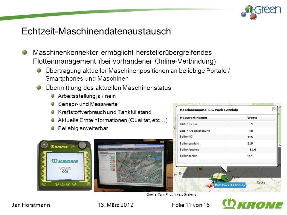 Echtzeit-Maschinendatenaustausch Maschinenkonnektor ermöglicht herstellerübergreifendes Flottenmanagement (bei vorhandener Online-Verbindung) Übertrag