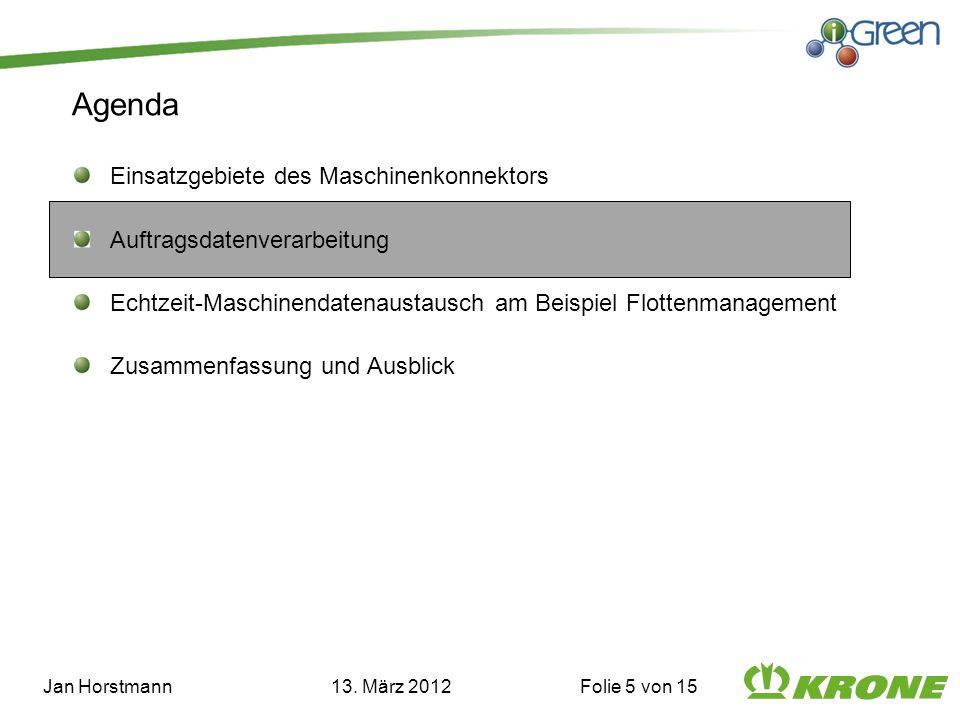 Agenda Einsatzgebiete des Maschinenkonnektors Auftragsdatenverarbeitung Echtzeit-Maschinendatenaustausch am Beispiel Flottenmanagement Zusammenfassung und Ausblick Jan Horstmann 13.