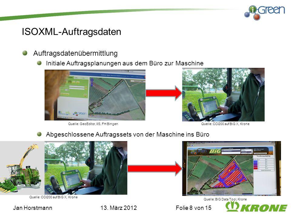 ISOXML-Auftragsdaten Auftragsdatenübermittlung Initiale Auftragsplanungen aus dem Büro zur Maschine Abgeschlossene Auftragssets von der Maschine ins Büro Jan Horstmann 13.