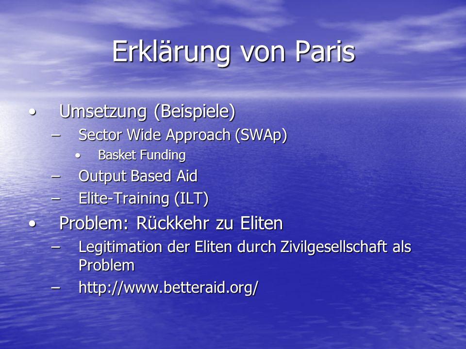 Erklärung von Paris Umsetzung (Beispiele)Umsetzung (Beispiele) –Sector Wide Approach (SWAp) Basket FundingBasket Funding –Output Based Aid –Elite-Trai