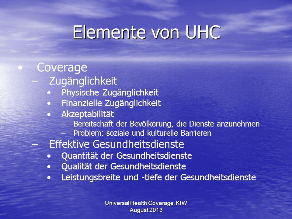 Elemente von UHC Coverage – –Zugänglichkeit Physische Zugänglichkeit Finanzielle Zugänglichkeit Akzeptabilität – –Bereitschaft der Bevölkerung, die Di