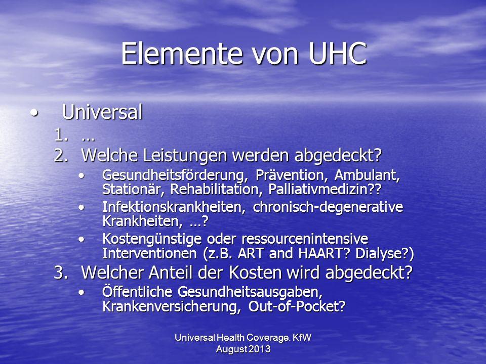 Elemente von UHC UniversalUniversal 1.… 2.Welche Leistungen werden abgedeckt? Gesundheitsförderung, Prävention, Ambulant, Stationär, Rehabilitation, P