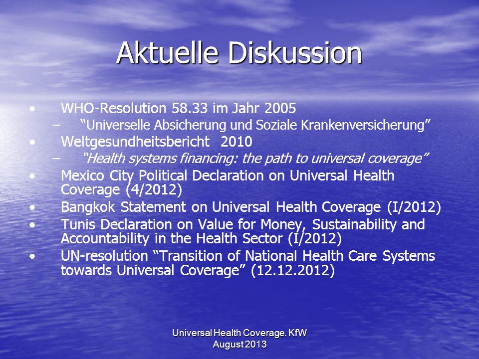 Aktuelle Diskussion WHO-Resolution 58.33 im Jahr 2005 – –Universelle Absicherung und Soziale Krankenversicherung Weltgesundheitsbericht 2010 – –Health