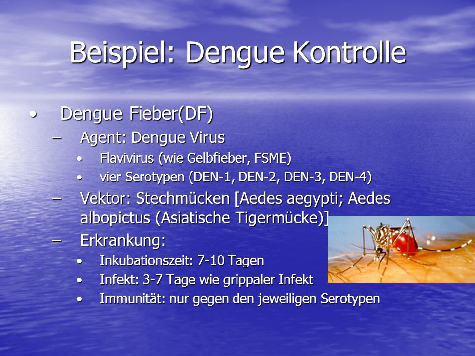 Beispiel: Dengue Kontrolle Dengue-hämorrhagisches FieberDengue-hämorrhagisches Fieber –Hämorrhagisches Fieber: Fieber mit Blutungsneigung –Verlauf: grippeähnlich mit zwei-gipfeligem Fiebergrippeähnlich mit zwei-gipfeligem Fieber beim zweiten Schub häufig starke Blutungenbeim zweiten Schub häufig starke Blutungen Schocksyndom, Blutungen in allen Körperhöhlen, TodSchocksyndom, Blutungen in allen Körperhöhlen, Tod –Entstehung: umstrittenumstritten These: Infektion eines Menschen, der immun gegen einen Serotypen ist, mit einem anderen SerotypenThese: Infektion eines Menschen, der immun gegen einen Serotypen ist, mit einem anderen Serotypen