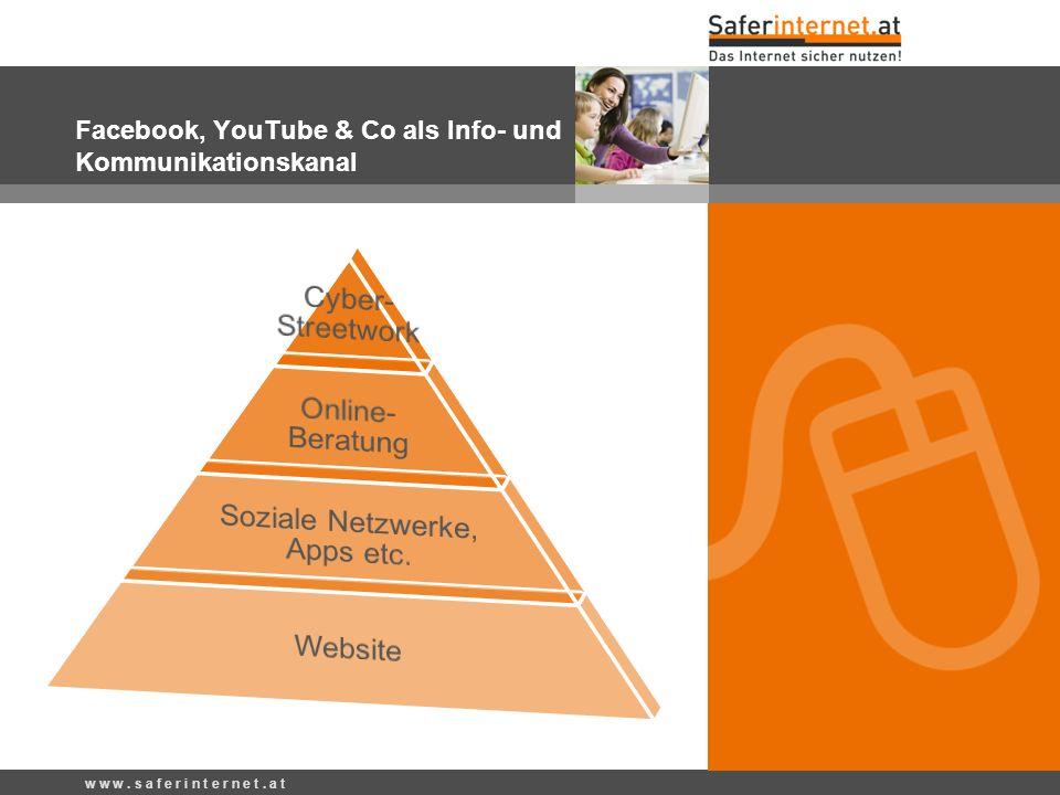 w w w. s a f e r i n t e r n e t. a t Facebook, YouTube & Co als Info- und Kommunikationskanal