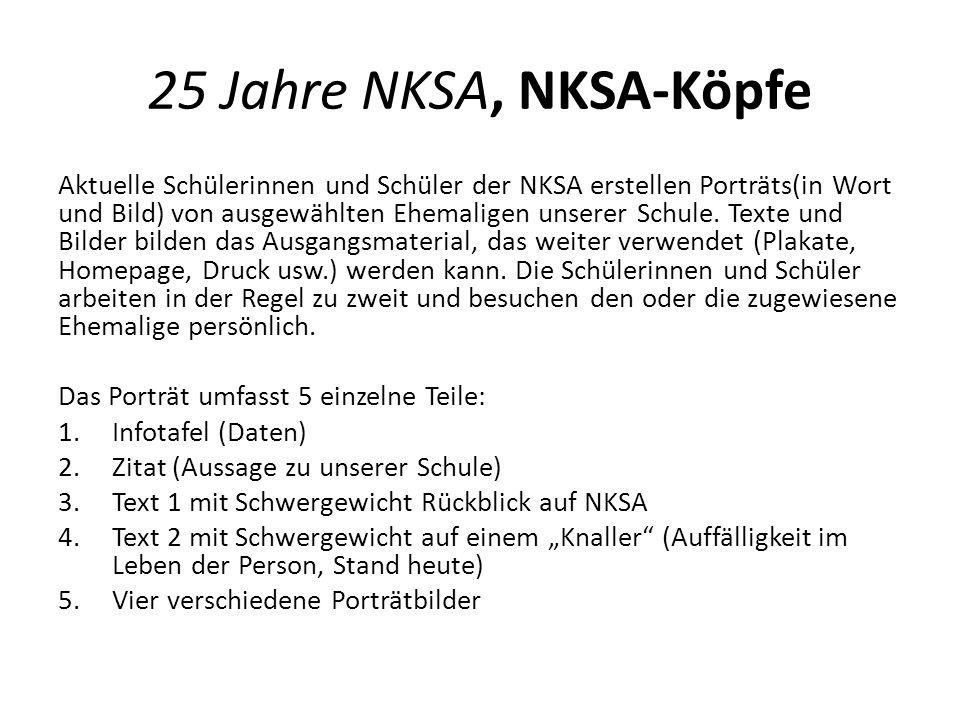 25 Jahre NKSA, NKSA-Köpfe Aktuelle Schülerinnen und Schüler der NKSA erstellen Porträts(in Wort und Bild) von ausgewählten Ehemaligen unserer Schule.