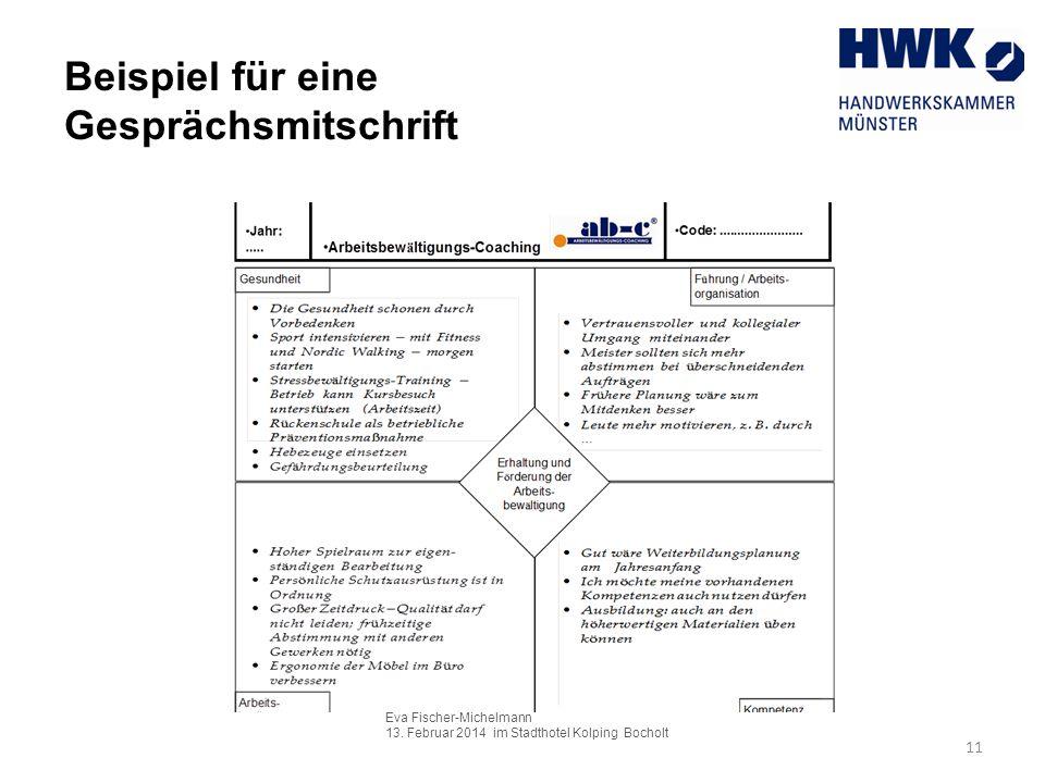Eva Fischer-Michelmann 13. Februar 2014 im Stadthotel Kolping Bocholt 11 Beispiel für eine Gesprächsmitschrift