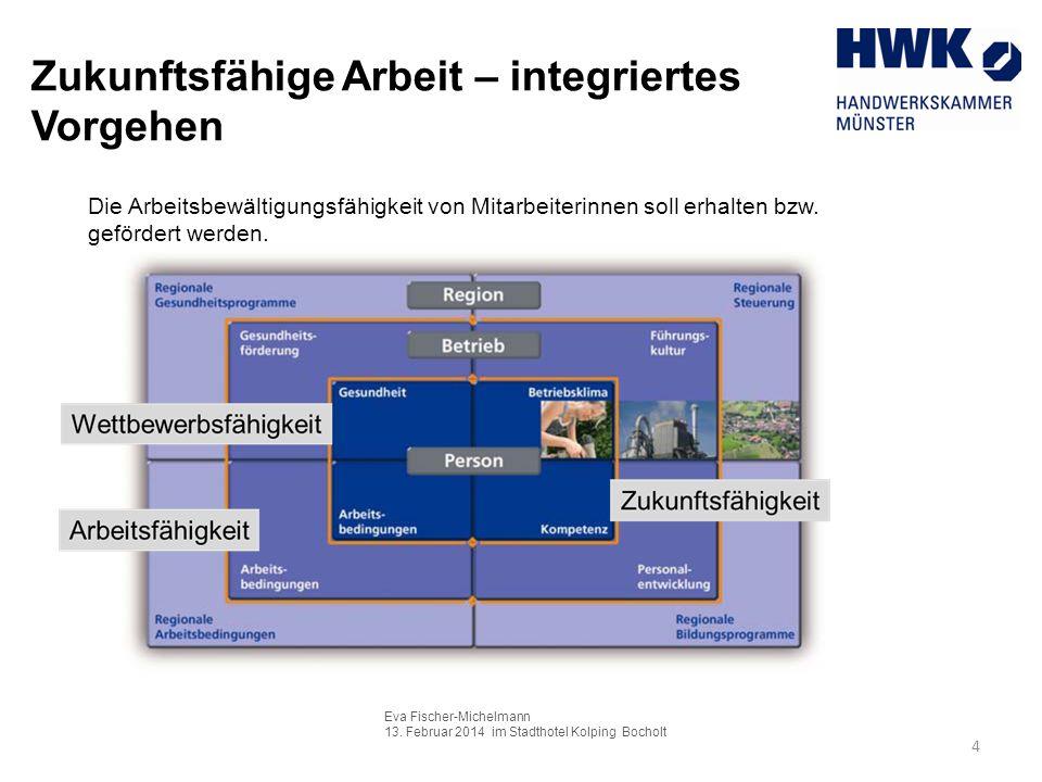 Eva Fischer-Michelmann 13. Februar 2014 im Stadthotel Kolping Bocholt 4 Zukunftsfähige Arbeit – integriertes Vorgehen Die Arbeitsbewältigungsfähigkeit