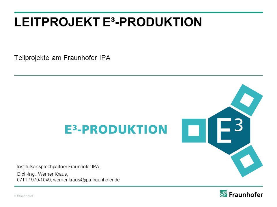 © Fraunhofer Teilprojekte am Fraunhofer IPA LEITPROJEKT E³-PRODUKTION Institutsansprechpartner Fraunhofer IPA: Dipl.-Ing. Werner Kraus, 0711 / 970-104
