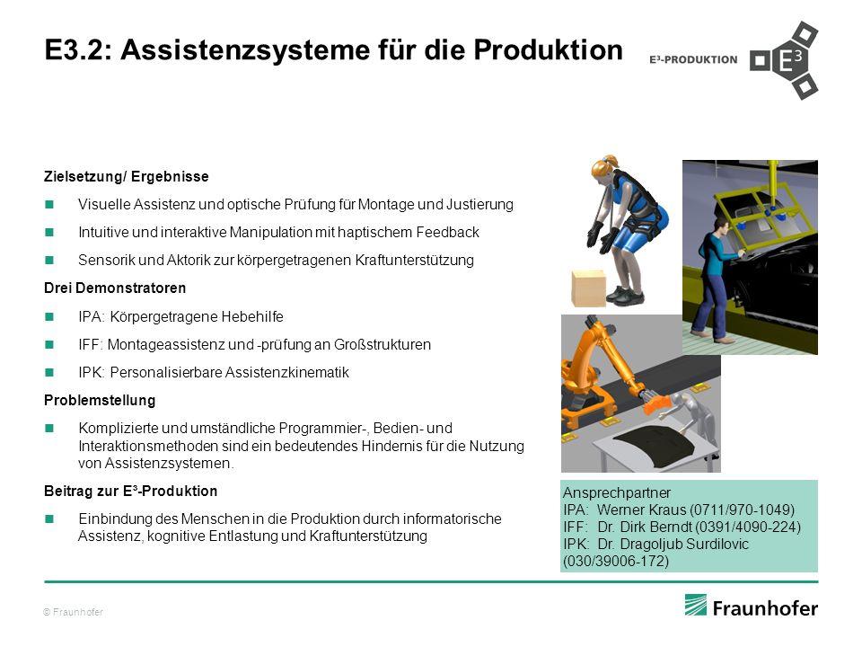 © Fraunhofer E3.2: Assistenzsysteme für die Produktion Zielsetzung/ Ergebnisse Visuelle Assistenz und optische Prüfung für Montage und Justierung Intu