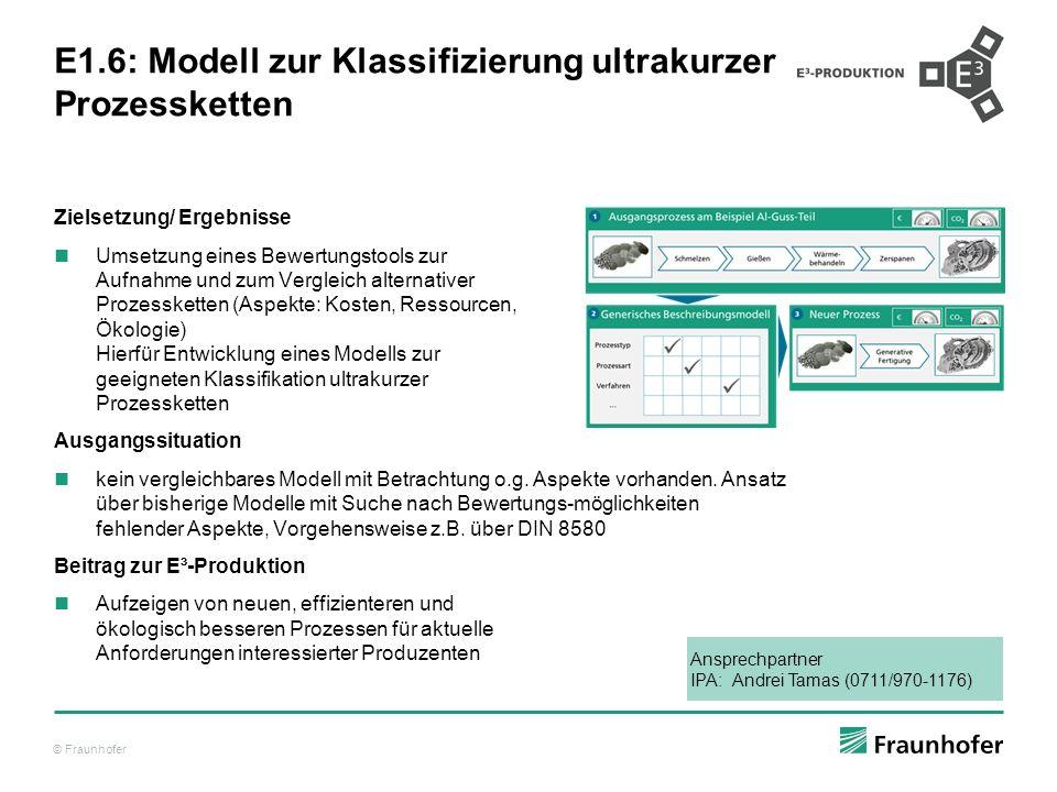 © Fraunhofer E1.6: Modell zur Klassifizierung ultrakurzer Prozessketten Zielsetzung/ Ergebnisse Umsetzung eines Bewertungstools zur Aufnahme und zum V