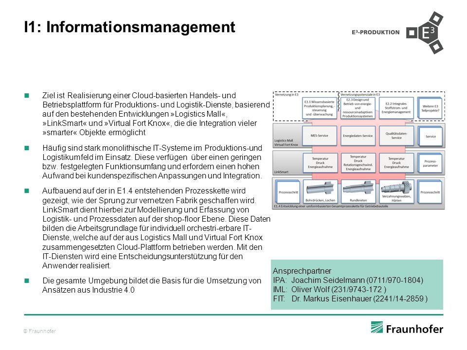 © Fraunhofer I1: Informationsmanagement Ziel ist Realisierung einer Cloud-basierten Handels- und Betriebsplattform für Produktions- und Logistik-Diens