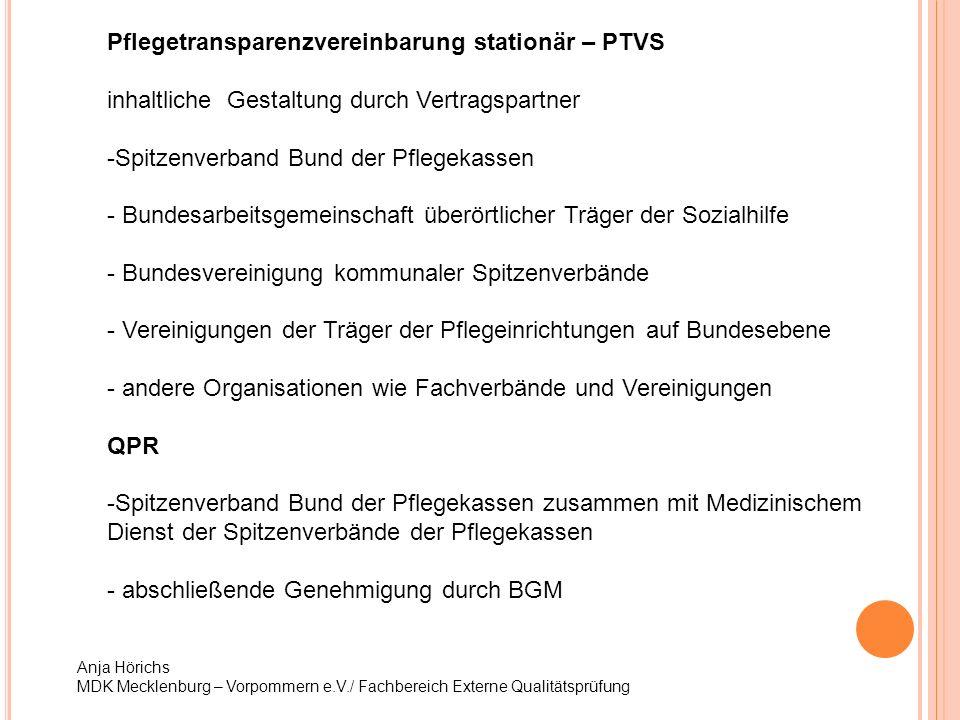 Anja Hörichs MDK Mecklenburg – Vorpommern e.V./ Fachbereich Externe Qualitätsprüfung Pflegetransparenzvereinbarung stationär – PTVS inhaltliche Gestal