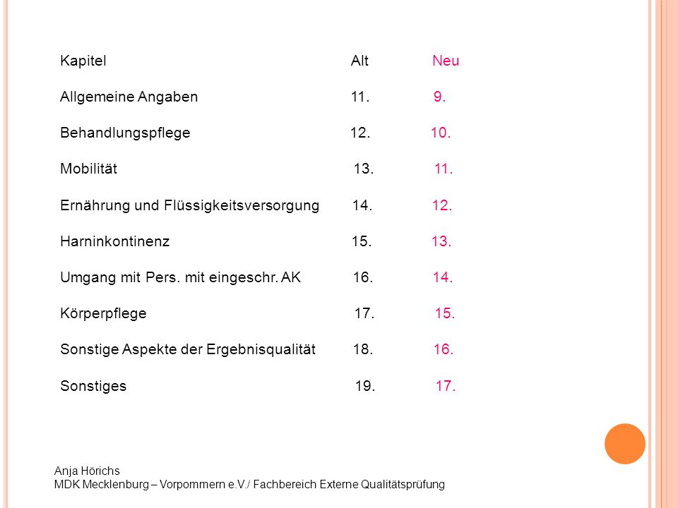 Anja Hörichs MDK Mecklenburg – Vorpommern e.V./ Fachbereich Externe Qualitätsprüfung Kapitel Alt Neu Allgemeine Angaben 11. 9. Behandlungspflege 12. 1