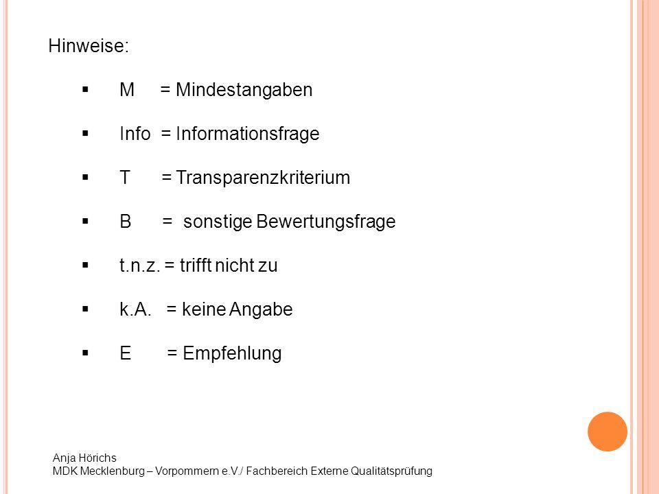 Hinweise: M = Mindestangaben Info = Informationsfrage T = Transparenzkriterium B = sonstige Bewertungsfrage t.n.z. = trifft nicht zu k.A. = keine Anga