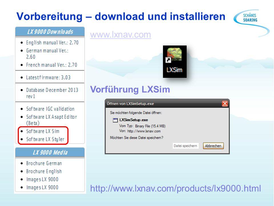 Piloten und Profile laden SGL Profil laden http://www.schaenis-soaring.ch/flugzeuge/instrumente/lx-9000/