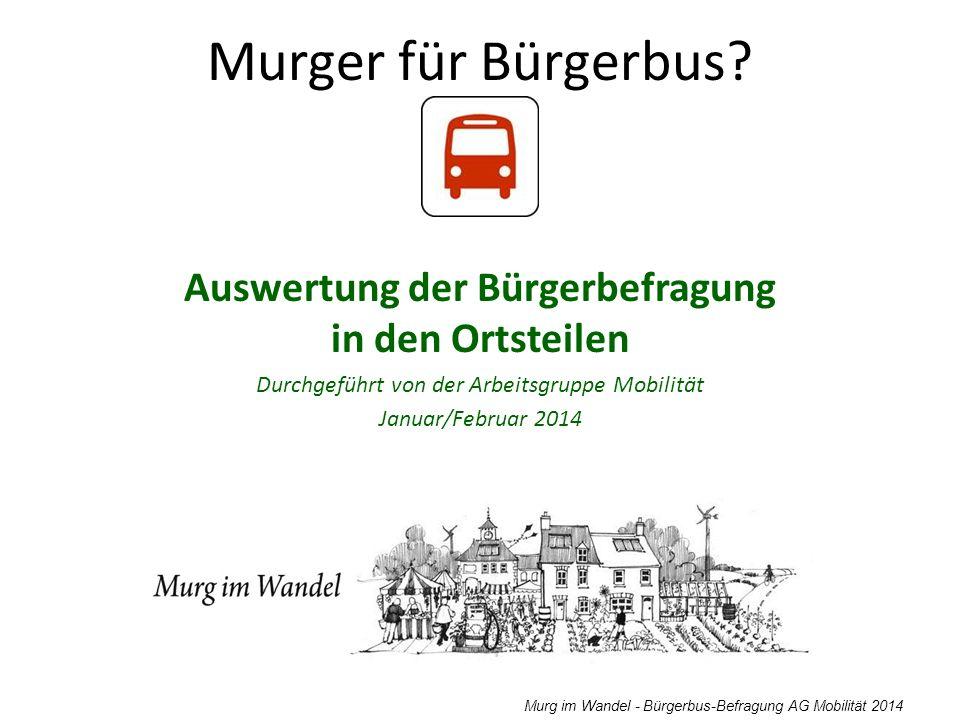 Murg im Wandel - Bürgerbus-Befragung AG Mobilität 2014 werktagsSamstagSonntag Zug aus Richtung Basel Bus aus Richtung Basel 19:21 19:51 20:21 20:21 Bus 20:51 21:21 Bus 21:26 22:21 Bus 22:26 23:32 19:21 20:21 20:28 21:26 21:28 Bus 22:26 23:32 19:21 20:21 20:28 21:26 21:28 Bus 22:26 23:32 Zug aus Richtung Waldshut Bus aus Richtung Waldshut 19:24 Bus 19:32 20:23 Bus 20:32 21:23 Bus 22:05 19:31 20:23 Bus 20:31 21:26 22:05 23:15 / 23:45 19:31 20:31 21:26 22:05 letzter SBG-Bus nach Hänner von Murg Bahnhof 18:5819:13 letzter Bus von Laufenburg (Ost) nach Hänner 18:3518:26 Notwendige Fahrzeiten für den Bürgerbus entsprechend unserer Zielvorstellung: Abfahrt Murg Bahnhof: 19:35 20:05 20:35 21:05 21:35 22:10 19:35 20:35 21:35 22:10 23:20 / 23:50 19:35 20:35 21:35 22:10 Ankunftszeiten Zug/Bus ohne Anschlussfahrten in die oberen OT